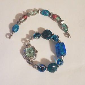 Ladies Swap Watch Bracelet with 2 Glass Bead Bands